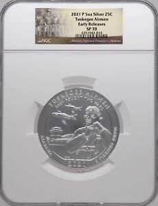 2021 P 5oz SILVER 25C Tuskegee Airmen NGC SP 70 Early Releases perfect must see!
