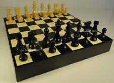 "STAUNTON WOOD FRENCH 3 3/4"" CHESS SET BLACK & MAPLE WOOD Storage Board Chest 16"""