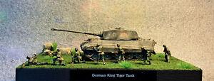 WW2 Diorama 1/72 scale German King Tiger Tank & 7 Figures