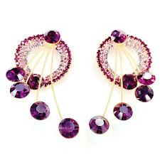 Chic Purple Color Crystal Gold Plating Dangle Ear Stud Earrings