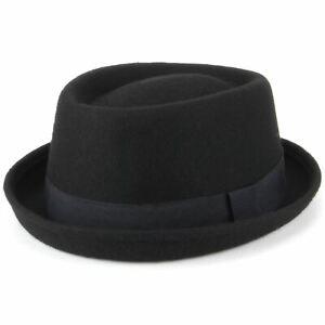 Black Pork Pie Hat Wool Felt Hawkins BLACK Band Jazz Fedora Porkpie