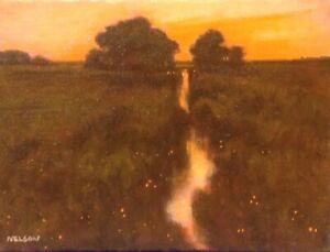 Twilight Color Realism Landscape OIL PAINTING ART IMPRESSIONIST Original Orange