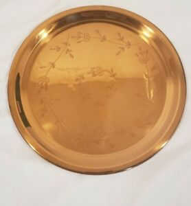 """Vintage Round Copper Etched Floral Serving Tray 12"""" Diameter"""