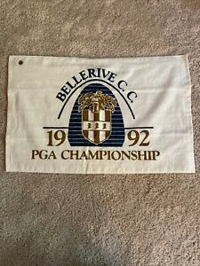 VINTAGE 1992 Bellerive Country Club White Golf Towel Gold BLUE PGA OLD Grommet