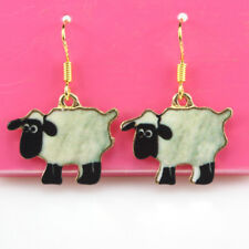 925 Silver Hook Jewelry Rhinestone Enamel Sheep Woman Dangle Earring