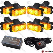 16 LED Amber Light Grill Construction Utility Warning Strobe Flash Hazard Yellow