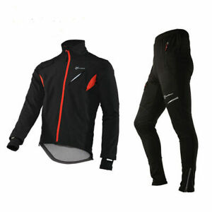 ROCKBROS Men's Winter Cycling Suit Windproof Warm Sports Bicycle Jackets + Pants