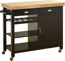 Living Martha Rubberwood Kitchen Island Cart Wine Towel Bar Rack Two Drawers Dar