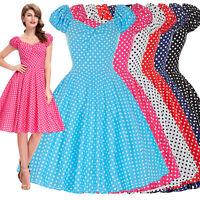 Vintage Sexy Women Polka Dots 40s 50's Swing Pin Up EVENING Tea Dress
