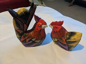 Pair Hand Carved Painted Wooden Rooster Figurines
