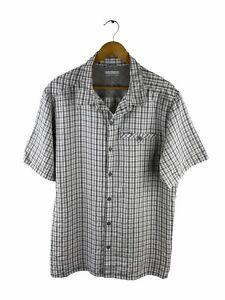 Columbia Button Up Shirt Mens Size XL Grey Check Short Sleeve Pocket Outdoor