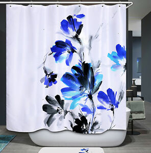 Blue Painted Modern Flowers Shower Curtain Black White Floral Painting