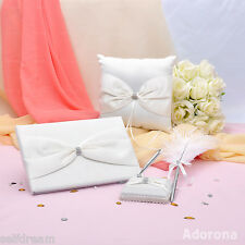 GB16a Ivory Bow Rhinestone Satin Wedding Ceremony Collection Guest book Pillow