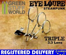 SteamPunk EYE LOUPE - TRIPLE MAGNIFIER MAGNIFYING - Clip On Type
