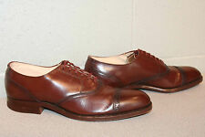 Mens 8 RICH BROWN LEATHER VTG 40s ROCKABILLY TOECAP SAWTOOTH OXFORD DRESS SHOE