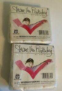 Diane Von Furstenberg by Orchids Vintage Beverage Napkins Set of 72 NEW 2 packs
