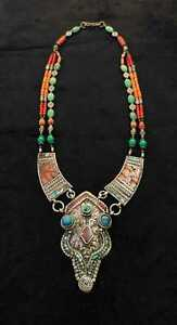 Beautiful Antique Necklace Tibetan Old Natural Turquoise and Coral Stone