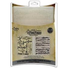 """Sizzix ~ Tim Holtz ~ Embossing Folder """"POSTCARD & SHEET MUSIC"""" Set ~ A2 ~ 656946"""