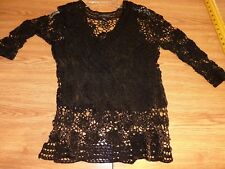 Womens Cable & Gauge Long sleeve black mesh rayon shirt top w/polyeter liner~L