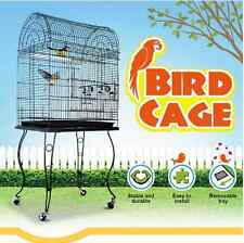 Large Stand-Alone Bird Cage on Wheels - Elegant Dome Top, Lacework Style Finish