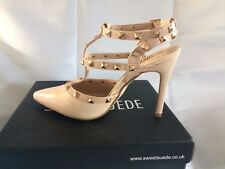 New Sweetsuede Rock Stud Ladies nude patent High Heels in dustbags  size 5 BNIB