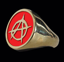 Bronze Anarchy Biker Ring Red Enamel Custom Size Rebel Free Spirit R-16br