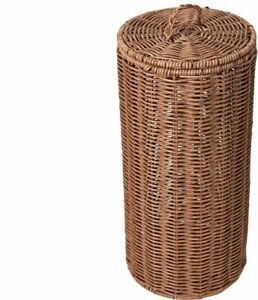 Rattan Look Toilet Roll Holder w/ Lid - Natural