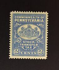 Pennsylvania State Revenue - 2 cents light blue Stock Transfer - OG - MNH - PA