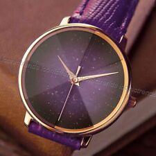NWT 🦄 Fossil ES4727 Prismatic Galaxy Three-Hand Purple Leather Band 33mm Watch