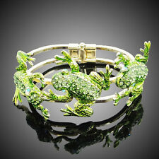 Triple Frog Bracelet Bangle Green Austrian Crystal Enamel Animal Gold GP