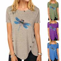 Damen Kurzarm T-Shirt Bluse Crew Neck Tee Tops Irregulär Libelle Printed Sommer