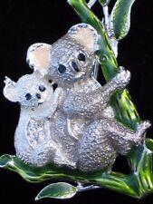 NIB NAPIER AUSTRALIA BAMBOO EUCALYPTUS KOALA BEAR FAMILY PIN BROOCH JEWELRY 2.25