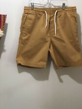 Mens H&M 4 Pocket Elastic Drawstring Waist Twill Shorts Butterscotch Sz Small