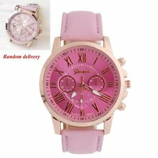 Women Faux Leather Chic Stylish Geneva Roman Numerals Analog Quartz Wrist Watch