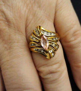 14K Yellow gold Diamonds and Pink Sapphire ring 4.44g Size N/7 RRP $1499