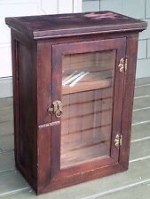 Early Wood Window Doctor Barber Dental Medical Apothecary Cabinet Display