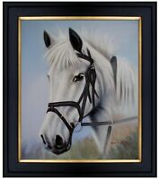 Framed, White Horse Portrait, Hand Painted Oil Painting 20x24in