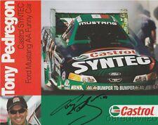 2003 Tony Pedregon signed Castrol Syntec Ford Mustang Funny Car NHRA postcard