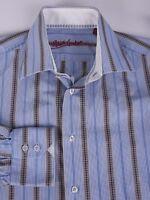 Robert Graham Shirt Blue Stripe Size 15.5/39 *C1115a6