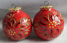 2 Art Pottery Christmas Ball Ornaments Poinsettia 2010