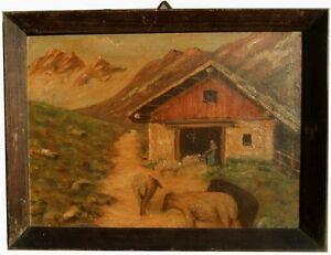 """Italienischer Künstler Öl Leinwand """"Schafe"""" 1942"""