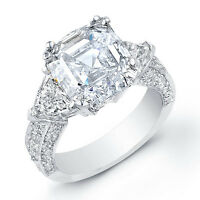 2.10 Ct Asscher Cut,Trillion Micro Pave Round Diamond Engagement Ring F,VVS2 GIA