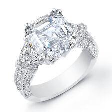 2.10 Ct Asscher Cut,Trillion Micro Pave Round Diamond Engagement Ring F,VVS2 GIA