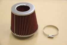 """CHROME/RED RACING 3"""" HIGH FLOW DRY  COLD AIR SHORT TURBO INTAKE FILTER+CLAMP"""
