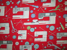 SEWING MACHINES BUTTONS THREAD SCISSORS SEWING ITEMS RED COTTON FABRIC BTHY