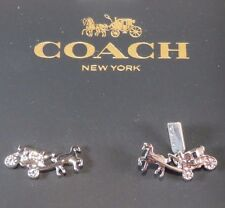 COACH NWT F54895 Horse & Carriage in Silver Tone Earrings MSRP $65