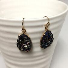 Gold Filled Amethyst Purple Teardrop Druzy Hook Dangle Bohemian Earrings