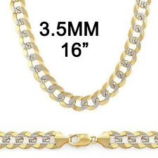 10K YELLOW GOLD DIAMOND CURB CUBAN CHAIN NECKLACE 3.5MM