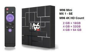 ANDROID TV BOX - 4K HD COUNT Mini MX1 M96 2GB/16GB 4/GB32GB 4/64GB EU Plug
