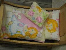 3-teilg.Miniatur-Mädchen-BETTWÄSCHE für ein Bett Schlafzimmer 1:12 Kinderzimmer